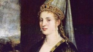 Roxelana, Hurrem Sultan ( born as Anastasia Lisowska). First the favourite consort and later the legal wife of Ottoman Sultan Suleiman the Magnificent. Well known for her power and influence the politics of the Ottoman Empire.